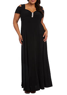 RM Richards Plus Size Cold Shoulder Gown