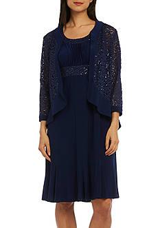 RM Richards Ruffle Front Lace Jacket Dress