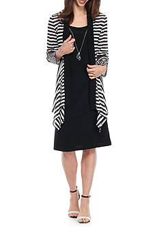 RM Richards Striped Jacket Shift Dress with Necklace