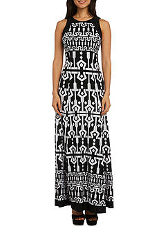 RM Richards Printed Shoulder Detail Maxi Dress