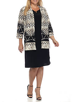 RM Richards Plus Size Jersey Jacket Dress
