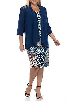 RM Richards Plus Size Printed Jacket Dress