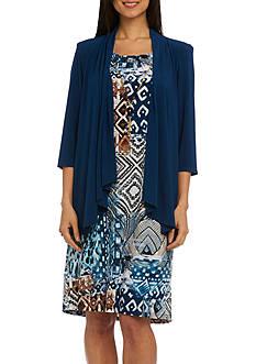 RM Richards Printed Knit Jacket Dress