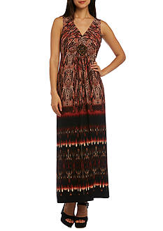 RM Richards Beaded Printed Maxi Dress