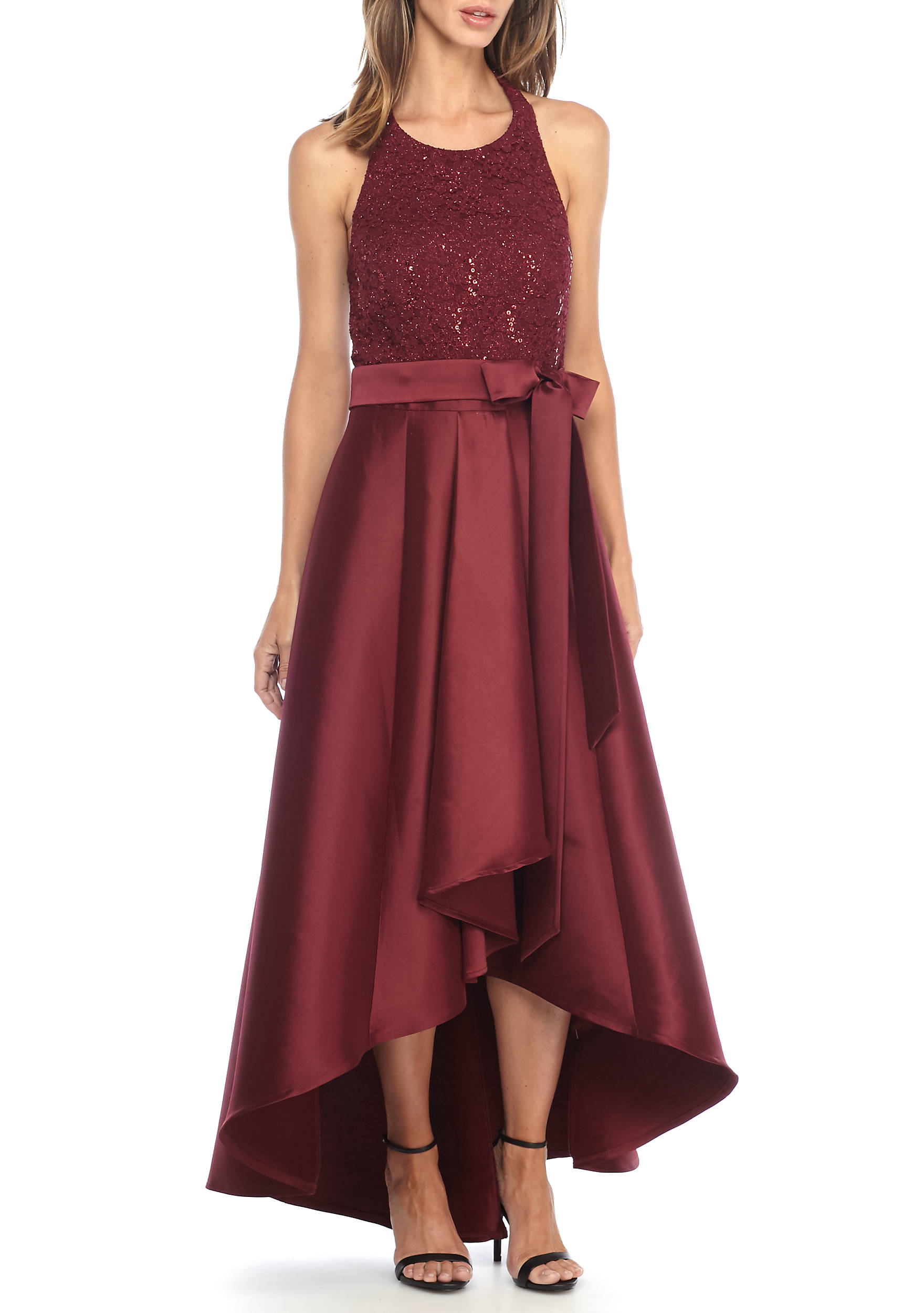 Bridesmaid dresses long modest more belk sequin and lace bodice halter high low hem gown ombrellifo Gallery