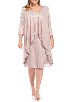 RM Richards Plus Size Mock Two-Piece Jacket Dress with Necklace