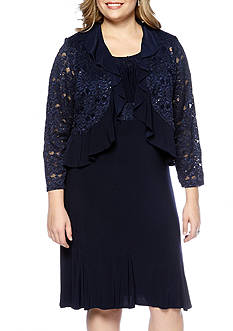 RM Richards Plus Size Lace Jacket Dress