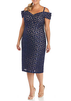 RM Richards Plus Size Off the Shoulder Lace Cocktail Dress