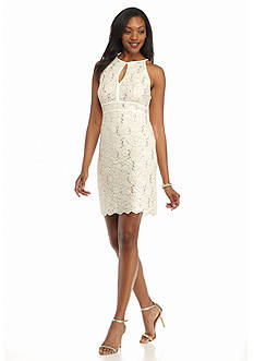 RM Richards Glitter Lace Halter Sheath Dress with Sequin