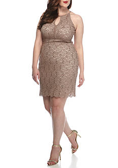 RM Richards Plus Size Keyhole Neck Sequins and Lace Dress
