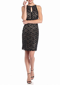 RM Richards Lace Keyhole Neckline Cocktail Dress