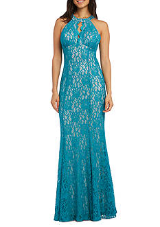 RM Richards Lace with Glitter Halter Gown