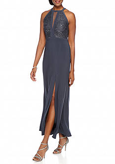 RM Richards Lace and Sequin Bodice Halter Gown