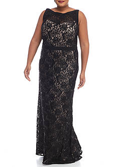 RM Richards Plus Size Lace and Sequin Gown