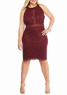 RM Richards Plus Size Lace and Glitter Halter Cocktail Dress