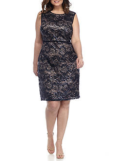 RM Richards Plus Size Nude Dress