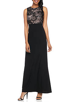 RM Richards Lace Top Jersey Gown