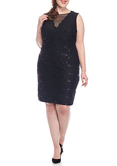RM Richards Plus Size Lace and Sequin Cocktail Dress