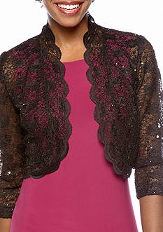 RM Richards Scalloped Edge Lace Shrug