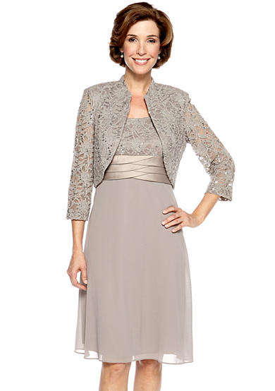 RM Richards Petite Three-Quarter Sleeved Lace Jacket Dress with Sequin