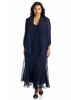 RM Richards Plus Size Bead Embellished Jacket Dress