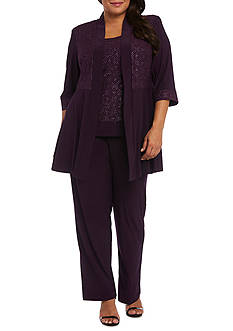 RM Richards Plus Size Glitter Pants Set