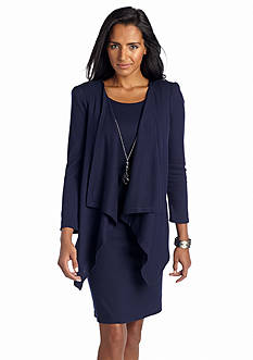 RM Richards Mock Jacket Dress with Necklace