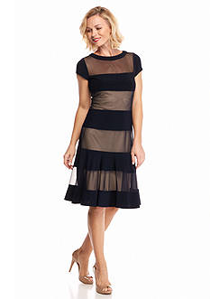 RM Richards Sheer Panel Fit and Flare Dress