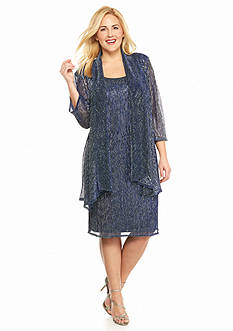 RM Richards Plus Size Shimmer Jacket Dress