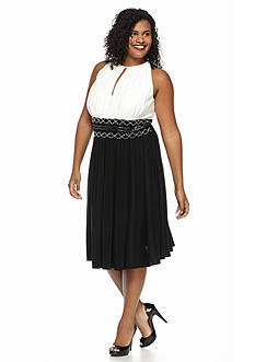 RM Richards Plus Size Bead Embellished Cocktail Dress