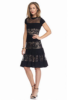 RM Richards Illusion Neckline Fit and Flare Dress