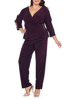 RM Richards Plus Size Rhinestone Trim Pant Set