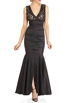 RM Richards Lace and Sequin Bodice Taffeta Gown