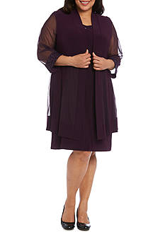 RM Richards Plus Size Sequin Trim Jacket Dress