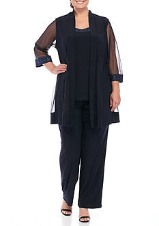RM Richards Plus Size Mock Three-Piece Pant Set
