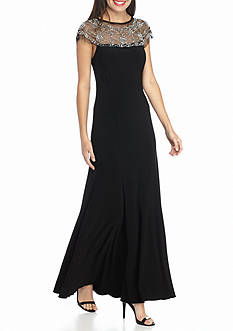 RM Richards Beaded Neckline Jersey Gown