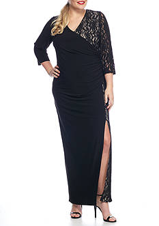 RM Richards Plus Size Lace with Glitter Gown