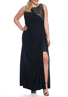 RM Richards Plus Size Lace and Sequin Inset Jersey Gown