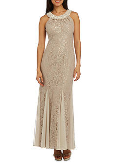 RM Richards Long Lace Dress with Pearl Neckline