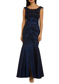RM Richards Lace Taffeta Off-The-Shoulder Gown