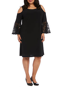 RM Richards Plus Size Short Cold Shoulder Dress with Lace Ruffle Sleeves