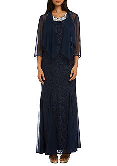 RM Richards Lace Chiffon Jacket Gown