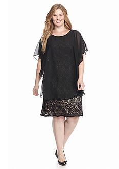 RM Richards Plus Size Lace Dress with Capelet