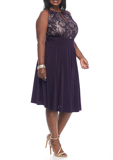 RM Richards Plus Size Lace and Sequin Bodice Cocktail Dress