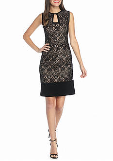 RM Richards Lace and Sequin Shift Dress with Solid Trim