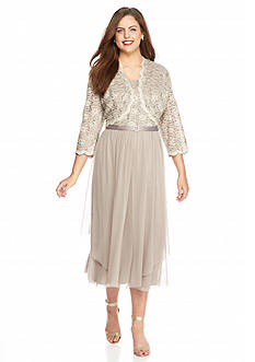 RM Richards Plus Size Lace and Sequin Jacket Dress