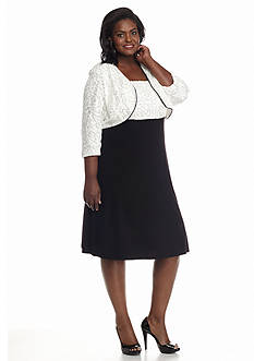 RM Richards Plus Size Sequin Lace Jacket Dress