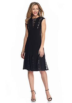 RM Richards Lace and Sequin Inset Fit-and-Flare Dress