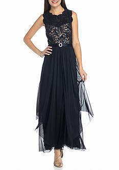 RM Richards Lace and Sequin Bodice Gown with Chiffon Skirt