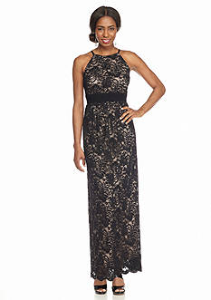 RM Richards Lace with Sequin Halter Gown